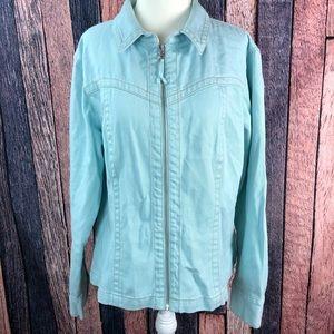 CABI Zip Up Jacket 100% Cotton Denim Jean Jacket